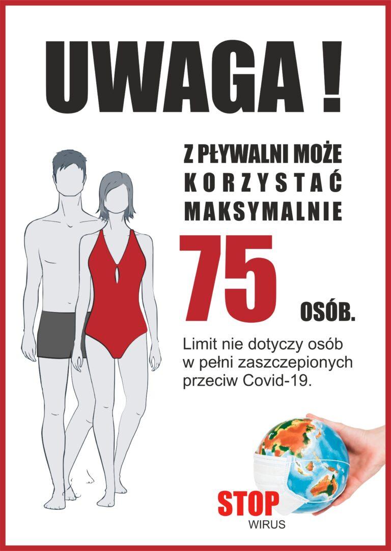 """Limit 75 osób na Pływalni Miejskiej """"Kasztelanka"""" w Międzyrzeczu."""