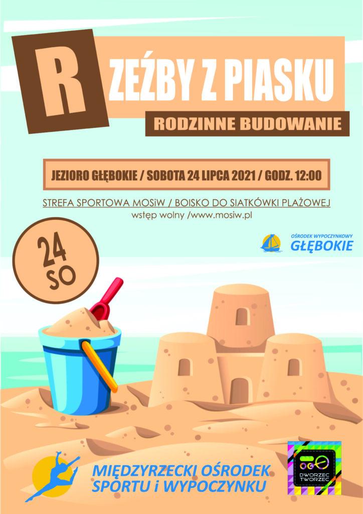 Plakat wydarzenia - Rodzinne budowanie rzeźb piaskowych.