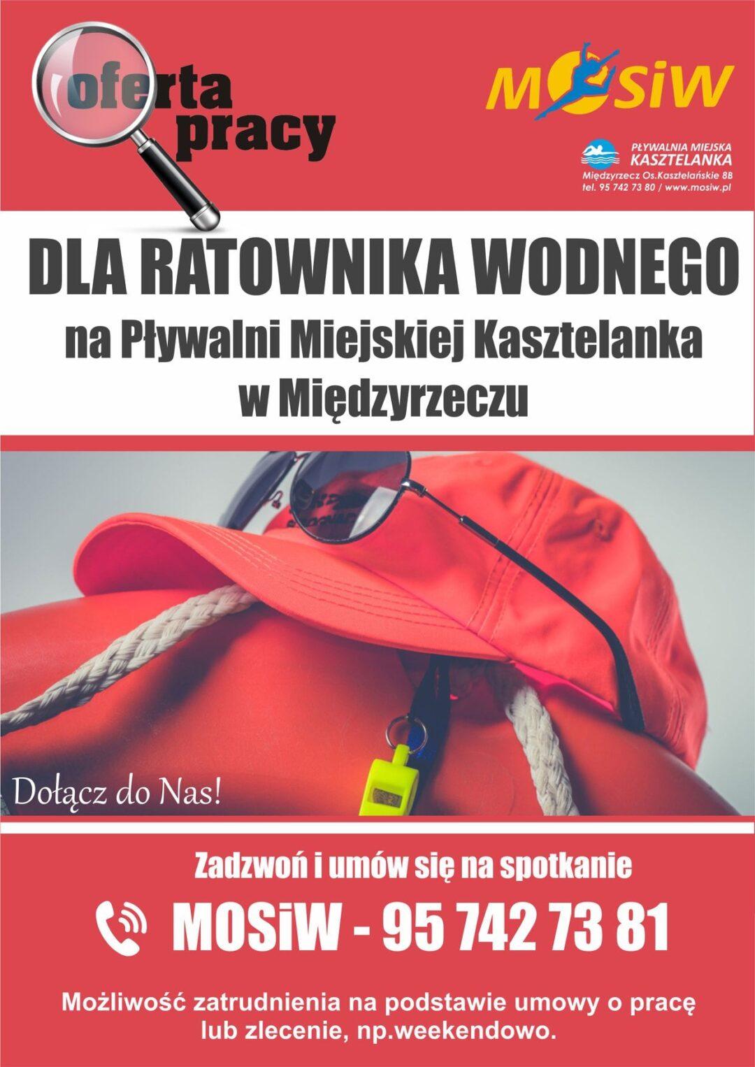 Plakat z ogłoszeniem - Praca dla ratownika