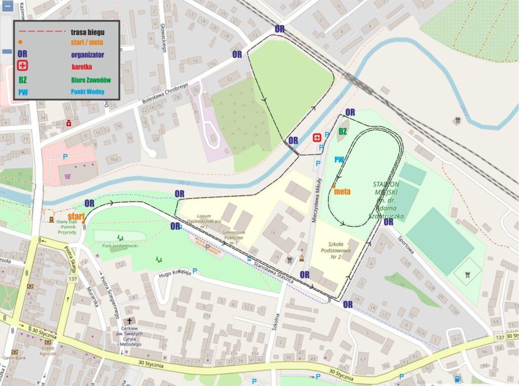 Mapa z przebiegiem trasy biegu